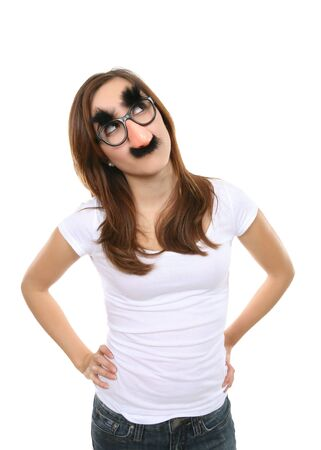 A pretty girl disguised with fake glasses, nose, and moustache