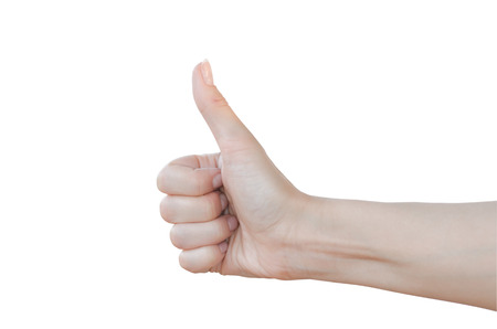 Photo for Thumbs up sign isolated on white. - Royalty Free Image