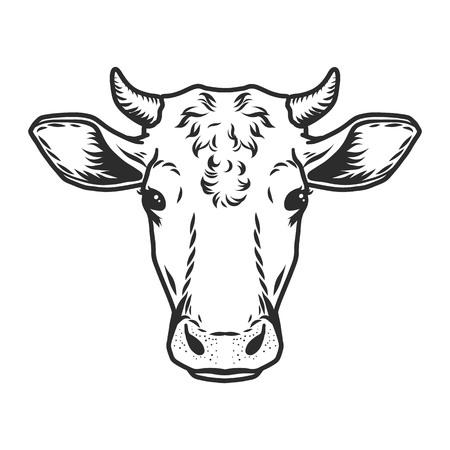 Illustration pour Cow head icon. Outline nand drawn illustration of cow head vector icon for web - image libre de droit