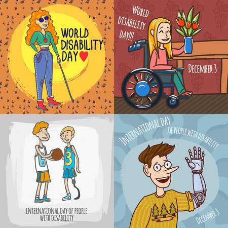 Photo for Day persons disabilities banner set. Hand drawn set illustration of day persons disabilities banner for web design - Royalty Free Image