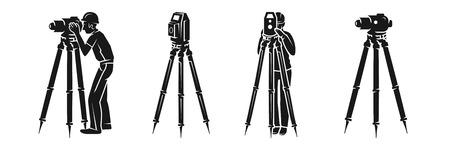 Illustration for Surveyor icon set. Simple set of surveyor vector icons for web design on white background - Royalty Free Image
