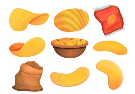 Ilustración de Chips potato icon set. Cartoon set of chips potato vector icons for web design - Imagen libre de derechos