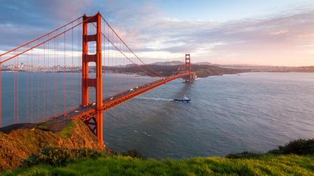 Golden Gate Bridge at sunset, seen from Marin Headlands.