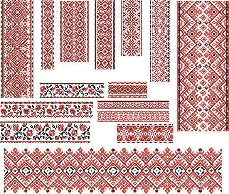 Ilustración de Set of Ukrainian ethnic patterns for embroidery stitch in red and black. Editable. - Imagen libre de derechos