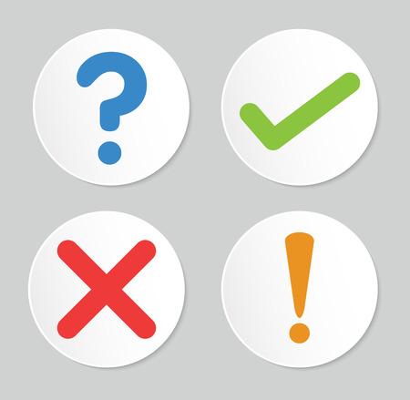 Ilustración de A set of four simple web buttons: check mark ,cross mark,exclamation mark,question mark - Imagen libre de derechos