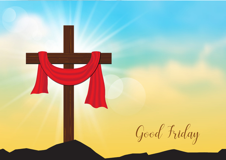 Illustration for Good Friday. Background with wooden cross and sun rays in the sky,Vector illustration EPS10. - Royalty Free Image