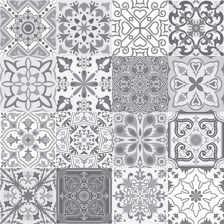 Illustration pour Big set of tiles background in grey. For wallpaper, backgrounds, decoration for your design, ceramic, page fill and more. - image libre de droit