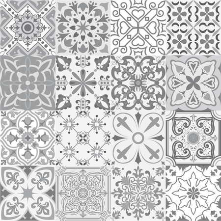 Illustration pour Big vector set of tiles background in grey. For wallpaper, backgrounds, decoration for your design, ceramic, page fill and more. - image libre de droit