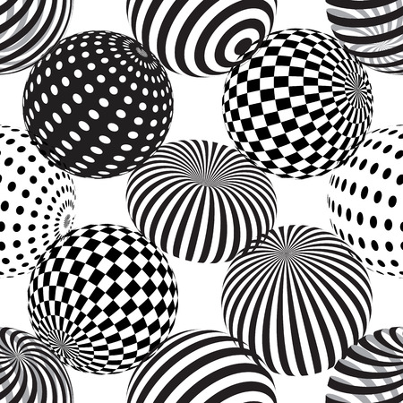 Illustration pour Vector seamless abstract background with dotted, striped spheres. 3d effect. Optical illusion. - image libre de droit