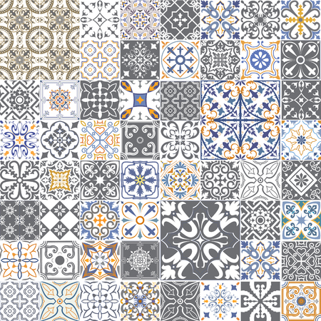 Illustration pour Big vector set of tiles in portuguese, spanish, italian style. For wallpaper, backgrounds, decoration for your design, ceramic, page fill and more. - image libre de droit