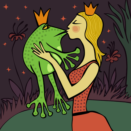 Illustration for pretty blonde princess kissing the frog - Royalty Free Image