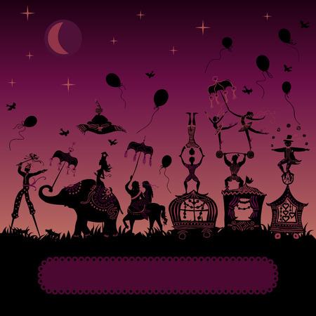 Ilustración de traveling circus caravan at night with magician, elephant, dancer, acrobat and various fun characters - Imagen libre de derechos
