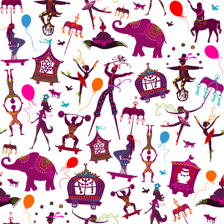 Illustration pour seamless pattern - colorful circus with magician, elephant, dancer, acrobat and various fun characters - image libre de droit