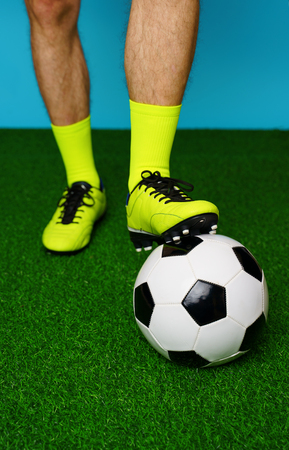 Photo for Soccer player with ball on the green grass. - Royalty Free Image