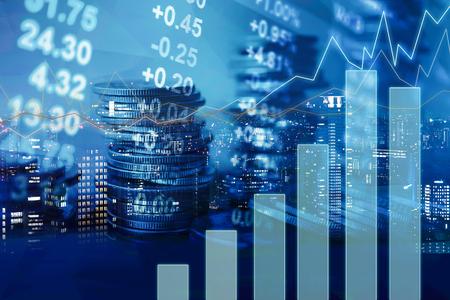 Foto de Double exposure of graph and rows of coins for finance and banking concept - Imagen libre de derechos