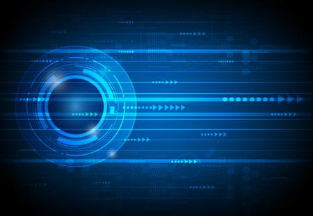 Ilustración de Abstract future digital science technology concept. Illustration vector futuristic of communication , electronic blue background - Imagen libre de derechos