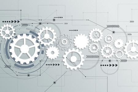Ilustración de Vector abstract futuristic gear wheel engineering on circuit board, Illustration hi-tech electric digital telecoms speed technology on light grey color background - Imagen libre de derechos