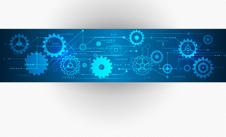 Illustration pour Vector Abstract futuristic, Stripe line printed circuit board pattern with gear wheel and arrow symbol on blue color background. Light grey color background with blank space for design - image libre de droit
