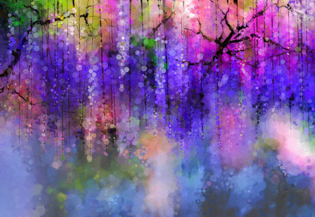 Photo for Abstract violet, red and yellow color flowers. Watercolor painting. Spring purple flowers Wisteria in blossom with bokeh background - Royalty Free Image