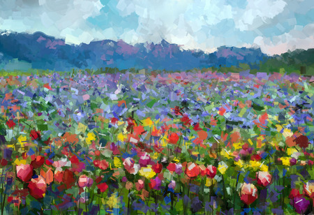 Photo for Oil painting Colorful spring summer rural landscape. Abstract Tulips flowers blossom in the meadow with hill and blue sky color background. - Royalty Free Image