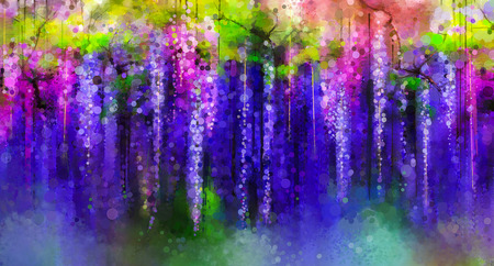 Foto de Abstract violet, red and yellow color flowers. Watercolor painting. Spring purple flowers Wisteria tree in blossom with bokeh background - Imagen libre de derechos