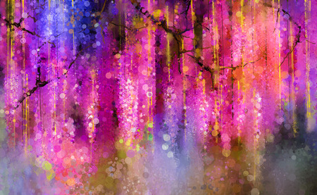 Foto per Abstract violet, red and yellow color flowers. Watercolor painting. Spring purple flowers Wisteria tree in blossom with bokeh background - Immagine Royalty Free