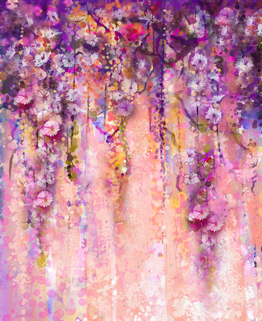 Foto de Abstract pink and violet color flowers, Watercolor painting. Hand paint flower Wisteria tree in blossom with bokeh over light purple background. Spring flower seasonal nature background with space for your design - Imagen libre de derechos