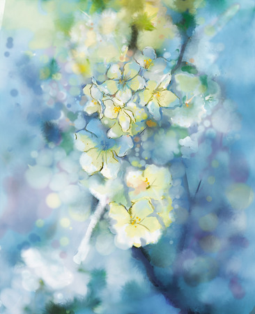 Photo for Abstract  watercolor painting  white Apricot tree flower in soft colorful and blur style with bokeh,Spring floral seasonal nature light blue background - Royalty Free Image