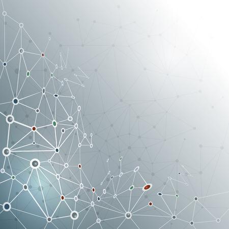 Ilustración de Abstract molecule structure on gray color background. Vector illustration of Communication - network for futuristic technology concept - Imagen libre de derechos