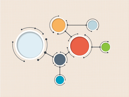 Ilustración de Abstract molecules with integrated paper circle and blank space for content, infographic template, communication, business, network and web design. Vector illustration social media technology concept - Imagen libre de derechos