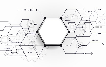 Illustration pour Vector Abstract futuristic circuit board on light gray background, hi-tech digital technology concept. Blank white 3d paper polygon label with space for your content, business, network and web design - image libre de droit