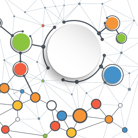 Ilustración de Abstract molecules and communication technology with integrated circles with  Blank space for your design. Vector illustration global social media concept.  White color background. - Imagen libre de derechos