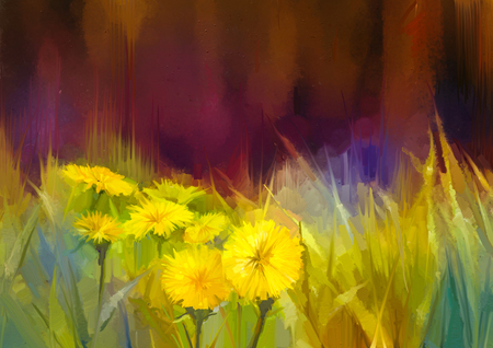 Photo for Oil painting nature grass flowers. Hand paint close up yellow dandelions, pastel floral and shallow depth of field. Blurred nature background. Spring flowers nature background - Royalty Free Image