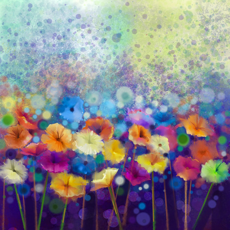 Abstract floral watercolor painting. Hand paint White, Yellow, Pink and Red color of daisy- gerbera flowers in soft color on blue- green color background.Spring flower seasonal nature background