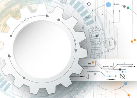 Foto für Vector illustration gear wheel and circuit board, Hi-tech digital technology and engineering, digital telecom technology concept. Abstract futuristic on light gray blue color background - Lizenzfreies Bild