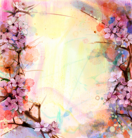 Photo for Watercolor Painting Cherry blossoms - Japanese cherry - Pink Sakura floral in soft color over blurred nature background. Spring flower seasonal nature background - Royalty Free Image