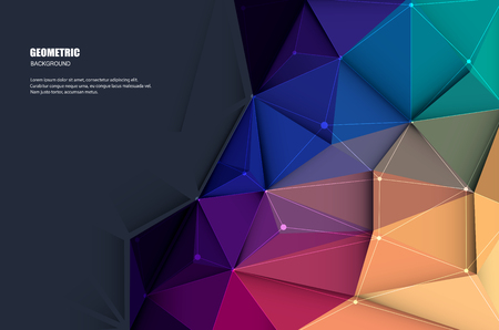 Illustration pour Vector illustration white paper (blank space for your content) on Abstract 3D Geometric, Polygonal, Triangle pattern shape and multicolored,blue, purple, yellow and green background - image libre de droit