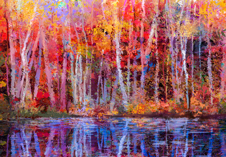 Photo pour Oil painting colorful autumn trees. Semi abstract image of forest, aspen trees with yellow - red leaf and lake. Autumn, Fall season nature background. Hand Painted Impressionist, outdoor landscape. - image libre de droit