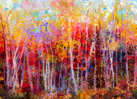 Foto de Oil painting landscape - colorful autumn trees. Semi abstract paintings image of forest, aspen tree with yellow and red leaf. Autumn, Fall season nature background. Hand Painted Impressionist, outdoor landscape. - Imagen libre de derechos