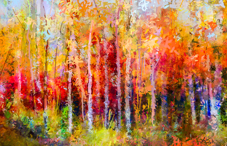 Photo pour Oil painting landscape - colorful autumn trees. Semi abstract paintings image of forest, aspen tree with yellow and red leaf. Autumn, Fall season nature background. Hand Painted Impressionist, outdoor landscape. - image libre de droit