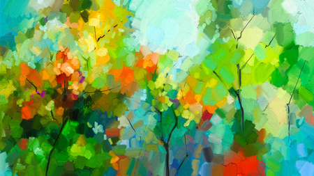 Photo pour Abstract colorful oil painting landscape on canvas. Semi- abstract of tree in forest. Green and red leaves with blue sky. Spring ,summer season nature background. Hand painted  Impressionist style - image libre de droit
