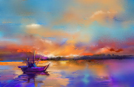Photo for Colorful oil painting on canvas texture. Impressionism image of seascape paintings with sunlight background. Modern art oil paintings with boat, sail on sea. Abstract contemporary art for background. - Royalty Free Image