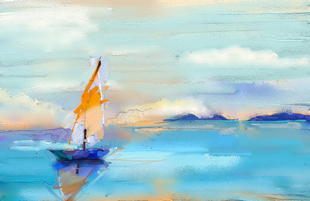 Photo for Colorful oil painting on canvas texture. Impressionism image of seascape paintings with sunlight background. Modern art oil paintings with boat, sail on sea. Abstract contemporary art for background - Royalty Free Image