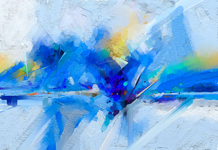 Foto de Abstract colorful oil, acrylic painting on canvas texture. - Imagen libre de derechos
