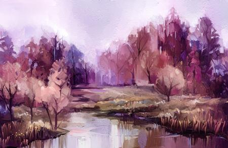 Photo pour Oil painting colorful autumn trees. - image libre de droit
