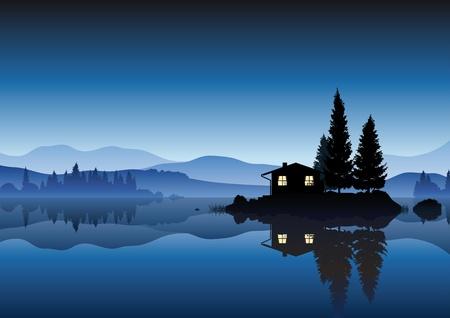 Illustration pour islet in the lake - image libre de droit