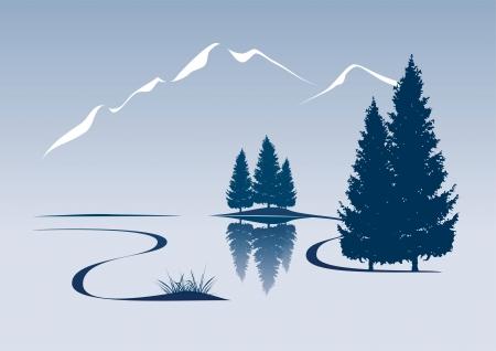 Illustration pour stylized illustration showing a river and mountain landscape - image libre de droit