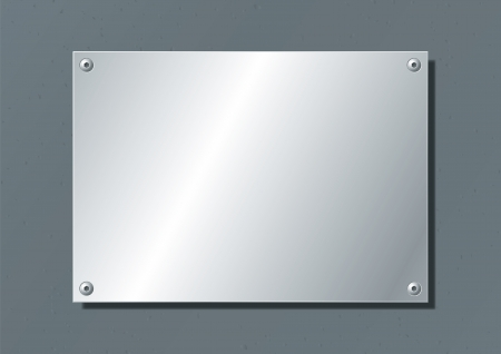 Illustration for editable aluminum company plate fixed with allen screws - Royalty Free Image