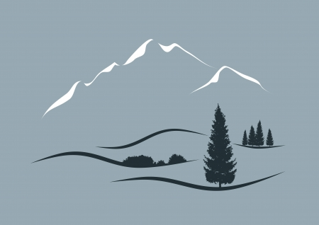 Illustration pour stylized illustration of an alpine landscape - image libre de droit