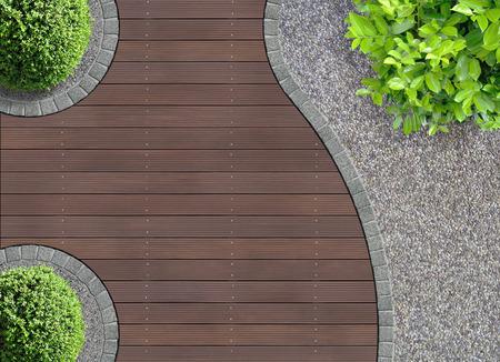 Photo pour aesthetic garden design detail seen from above - image libre de droit